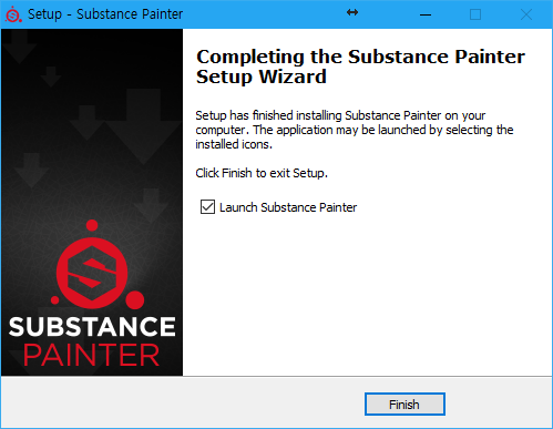 C). Setup - Substance Painter  Completing the Substance Painter  Setup Wizard  Setup has finished installing Substance Painter on your  computer The applicaton may be launched by selecting the  installed icons.  Click Finish to exit Setup.  Z] Launch Substance Painter  SUBSTANCE  FDA INTER