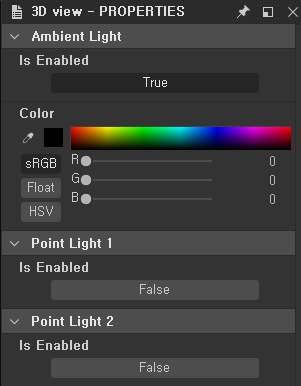 E 3D view - PROPERTIES  Ambient Light  Is Enabled  Color  HSV  Point Light 1  Is Enabled  Point Light 2  Is Enabled