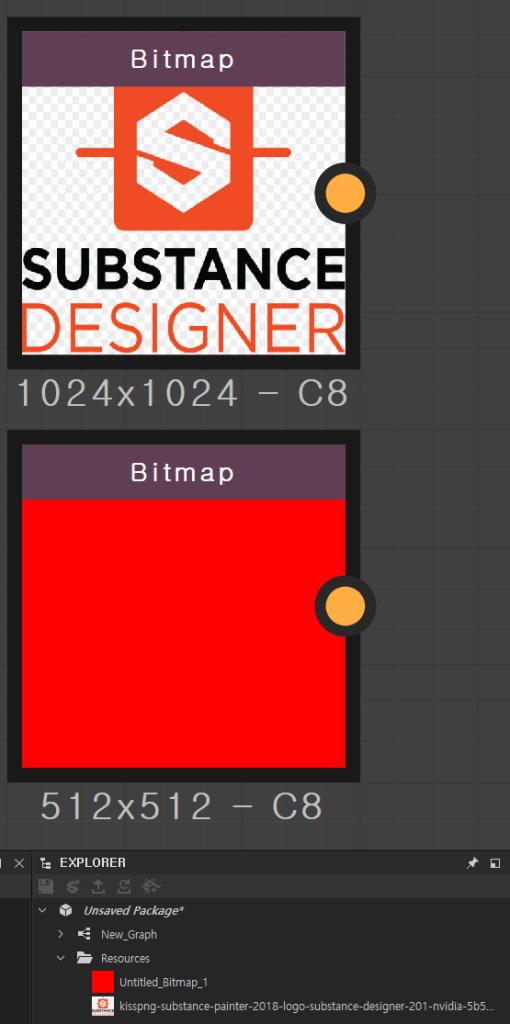 Bitmap  UBSTANCE  DESIGNER  Bitmap  EXPLORER  x  unsaved Package*  New_Graph  Resources  untitled_3itmap_1  kisspng-substance-painter-2018-10go-substance-designer-201-nvidia-5b5