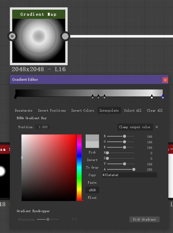 Gradi ent lap  2048x2048  Gradient Editor  RGBÅ Gradient Key  Gradi ent Eyedropper  L16  select All  output  All