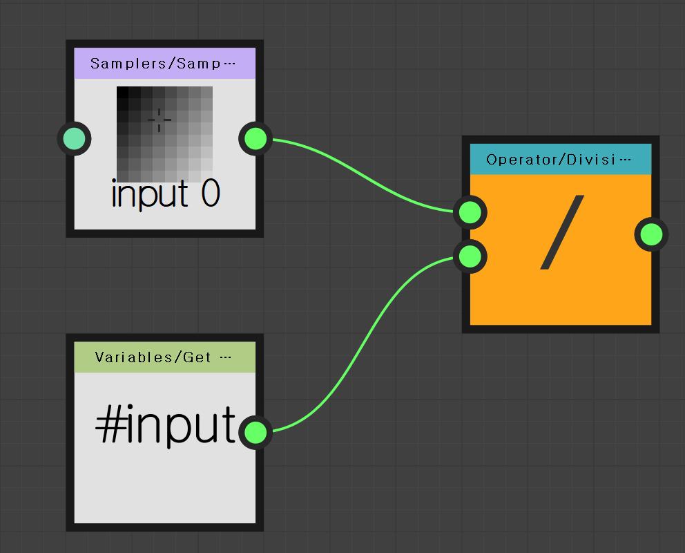 Samplers/Samp•••  Operator/ Divisi  input 0  Variables/Get