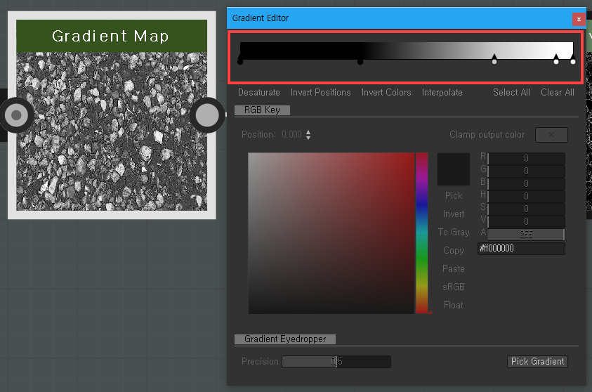 Gradient Editor  Gradient Map  Desaturate Invert Positions Invert Colors Interpolate  Clamp output color  Copy  Gradient Eyedropper  #ffOOOOOO  Pick Gradient