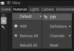 Scene  View  Materials Lights Camera Environmer  X  Default  Add  Remove All  Rebuild All  Edit  Definitions  Channels