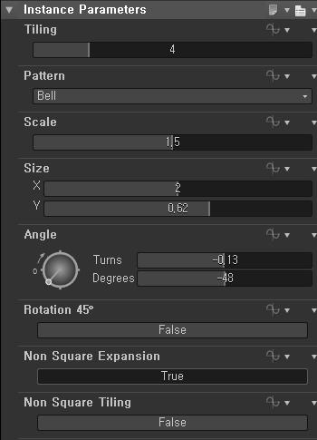Instance Parameters  Pattern  -0.13  Rotation 450  Non Square Expansion  Non Square Tiling