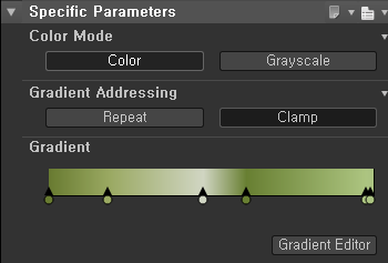 Specific Parameters  Color Mode  Color  Gradient Addressing  Repeat  Gradient  Grayscale  Clamp  Gradient Editor